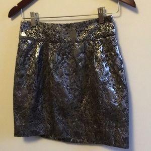 NWOT Metallic Floral Mini Skirt